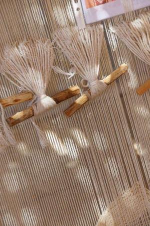 oriental rug: Weaving a Turkish carpet on a loom,  Ephesus, Turkey