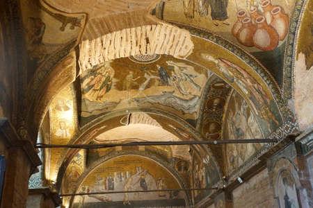 chora: ESTAMBUL, Turqu�a - 15 de mayo 2014 -Mosaics y frescos en el techo de la iglesia de Chora (Kariye Muzee) en Estambul, Turqu�a Foto de archivo