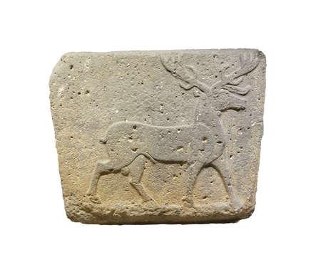 orthostat: ANKARA, TURKEY - MAY 21, 2014 -  Stag sculpture,  from Kargamis, Gaziantep, 700 BCE Museum of Anatolian Civilization, Ankara, Turkey