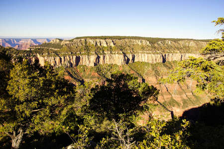 rock strata: Oza Butte early morning light, North Rim, Grand Canyon National Park, Arizona Stock Photo