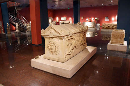 ANTALYA, TURKEY - JUN 2, 2014 -  Roman sarcophagus with mythological scenes,  Antalya,  Turkey