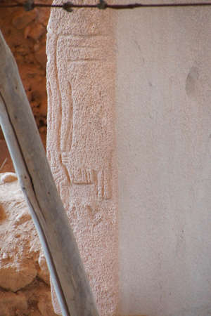 potbelly: Animal figures carved on stele in an outdoor archaeological site of  Gobekli Tepe (Pot-belly Hill) in Southeastern Turkey