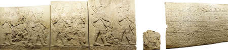 ANKARA, TURKEY - MAY 21, 2014 -  Hittite warriors, Orthostat steles from Kargama about 800 BCE,  Ankara, Turkey
