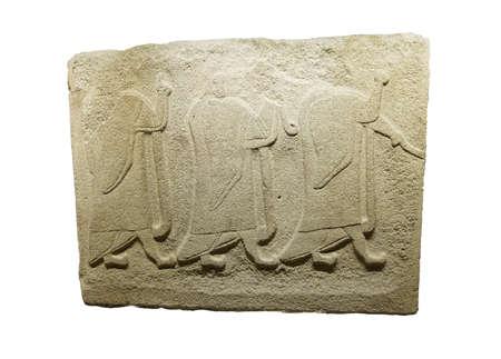 bce: ANKARA, TURKEY - MAY 21, 2014 -  Procession of cloaked people  from  Alaca, Corum, 1400 BCE Ankara, Turkey Editorial
