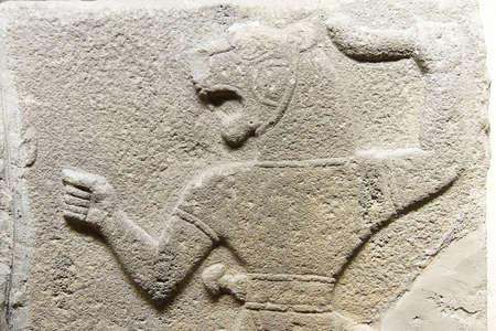 bce: ANKARA, TURKEY - MAY 21, 2014 -  Man with  lion head  from Kalaba, Phrygian, 1200 - 700 BCE,  Museum of Anatolian Civilization,  Ankara, Turkey