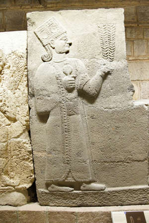 ANKARA, TURKEY - MAY 21, 2014 -  Goddess Kubaba, detail,from Kargama about 800 BCE,  Ankara, Turkey Editorial
