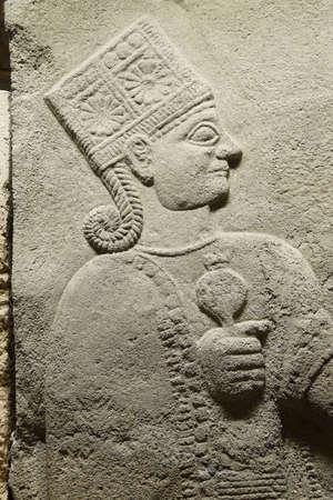 bce: ANKARA, TURKEY - MAY 21, 2014 -  Goddess Kubaba, detail,from Kargama about 800 BCE,  Ankara, Turkey Editorial