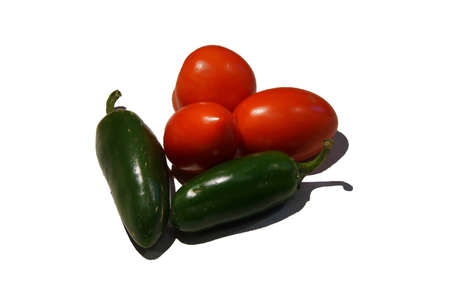red jalapeno: Fresh roma tomato and jalapeno peppers from fall garden harvest, Seattle
