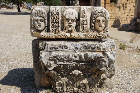 theatre masks: Carved Greek masks as decoration from the theatre of of Myra,  Turkey