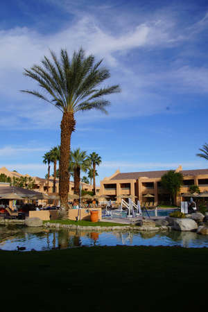 timeshare: RANCHO MIRAGE, CALIFORNIA - DEC 20, 2014 - Pool and Southwestern style hotel buildings in green oasis with Palm trees,  Rancho Mirage, California