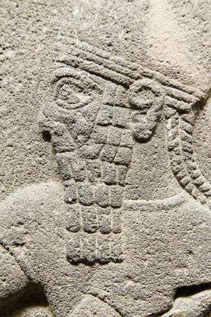 bce: ANKARA, TURKEY - MAY 21, 2014 -  Detail, priest in procession,  from  Alaca, Corum, 1400 BCE Ankara, Turkey