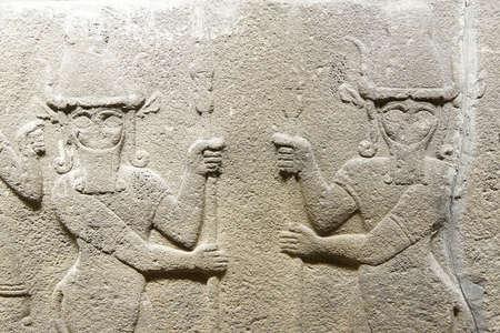 phrygian: ANKARA, TURKEY - MAY 21, 2014 -  Bull headed men, mythical creatures,  from Kalaba, Phrygian, 1200 - 700 BCE,  Museum of Anatolian Civilization,  Ankara, Turkey
