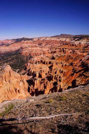 Pinnacles and hoodoos of red Navajo sandstone  viewed from Spectra Point trailCedar Breaks National Monument, Utah Stock Photo