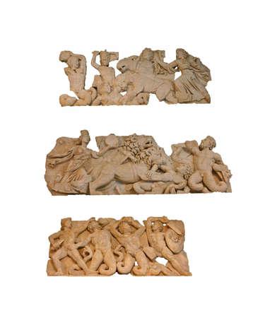 titans: Sculptures of the skene of the Perge theatre - gigantomachia - battle with giants, Antalya,  Turkey