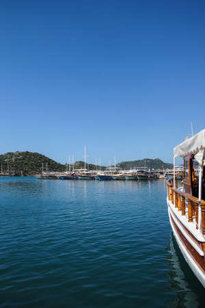 docked: Boats docked in the harbor  Kekove Turkey