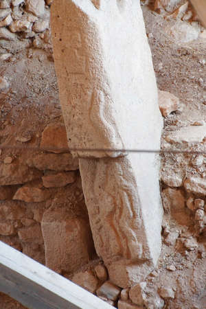 southeastern: Phallic figures carved on stele in an outdoor archaeological site of  Gobekli Tepe (Pot-belly Hill) in Southeastern Turkey