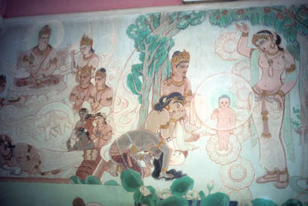 sarnath: Temptation of Buddha,fresco at Sarnath,  (Varanasi  Benares) India, Asia