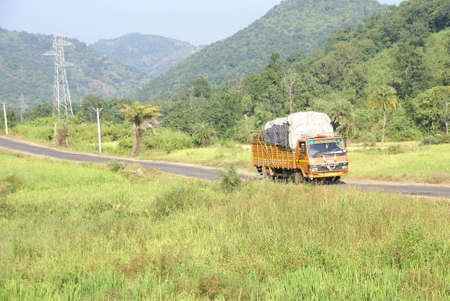 paddies: ORISSA,  INDIA - NOV 9, 2009 - Brightly colored truck passes through rice paddies and junglein Orissa, India.