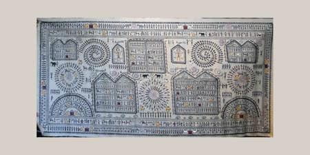 pluma de escribir antigua: Pintura tribal de Orissa tradicional en Puri, India