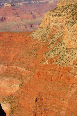 mohave: Bright colored rock bands  near Mohave Point, on the South Rim Trail,at the Grand Canyon National Park, Arizona Stock Photo