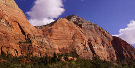 steep cliffs: Steep cliffs along the Virgin River  canyon, Zion National Park, Utah