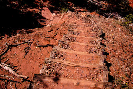 taylor: Timbered steps climb from the valley floor  along the Taylor Creek trail, Kolob Canyon, Zion National Park, Utah Stock Photo