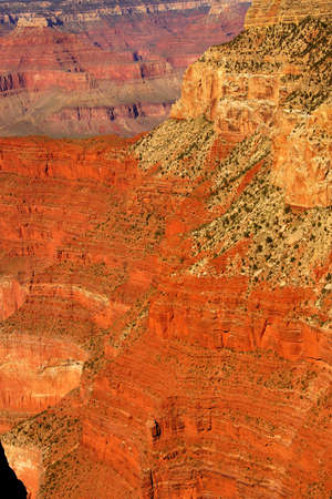 south rim: Bright colored rock bands  near Mohave Point, on the South Rim Trail,at the Grand Canyon National Park, Arizona Stock Photo