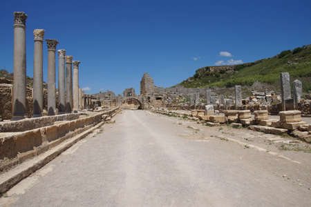 doric: Doric  columns and street in the ancient Greek city of  Perge,  Turkey Stock Photo