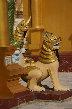 Chinthe leogryph protects the pagoda,Shwedagon Pagoda Yangon (Rangoon),  Myanmar (Burma) Stock Photo