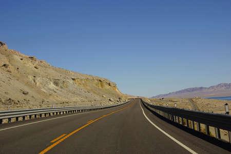 nevada desert: Empty highway in high desert  Nevada Stock Photo