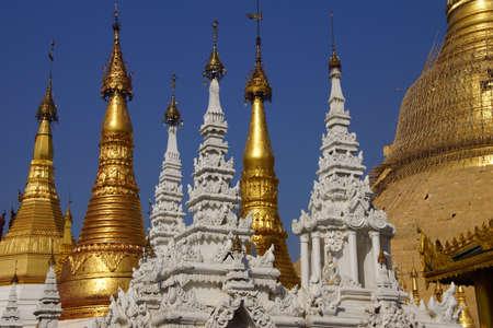 stupas: Golden spires of stupas surrounding the Shwedagon Pagoda Yangon (Rangoon),  Myanmar (Burma)
