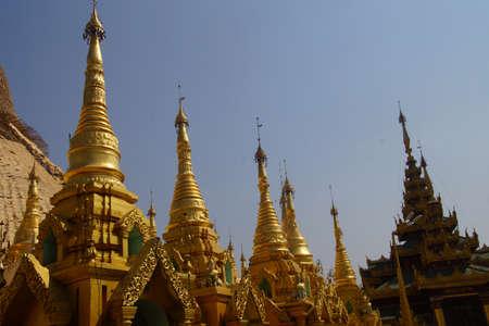 Golden spires of stupas surrounding the Shwedagon Pagoda Yangon (Rangoon),  Myanmar (Burma)