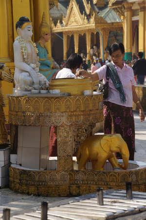 planetarnych: YANGON, BURMA - FEB 18, 2015 - Offering of holy water at planetary post, name day, shrine, Shwedagon Pagoda Yangon (Rangoon),  Myanmar (Burma) Publikacyjne