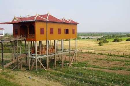 stilts: Traditional Khmer house built on stilts, Kratie Province, Cambodia