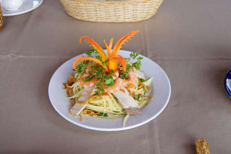 goi: Papaya with pork and shrimp salad, Goi du du tom thit,  Mekong River delta,  Vietnam Stock Photo