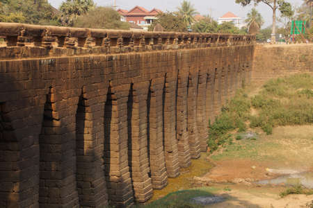 corbel: Sturdy corbeled arches of ancient 8th century Angkor bridge,  near Kampong Thom,  Cambodia