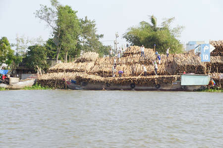 unload: CAI RANG, VIETNAM - FEB 7, 2015 - Men unload a cargo boat loaded with timber,  Cai Rang,  Vietnam Editorial