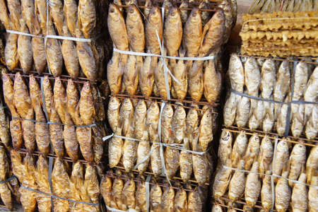 Dried fish for sale at roadside market, Kratie Province, Cambodia