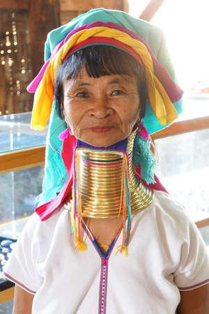 long lake: INLE LAKE, MYANMAR - FEB 28, 2015 - Long necked Kayan Padaung woman poses for her portrait,   Inle Lake,  Myanmar (Burma)