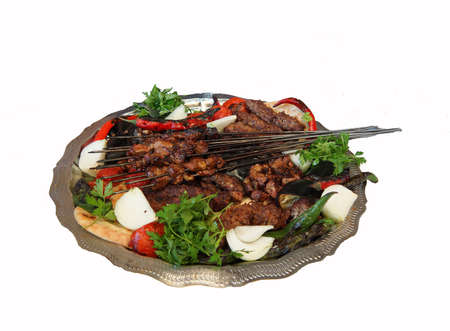 Liver cicek and other kebabs for lunch  in Urfa bazaar,  Turkey Stock Photo