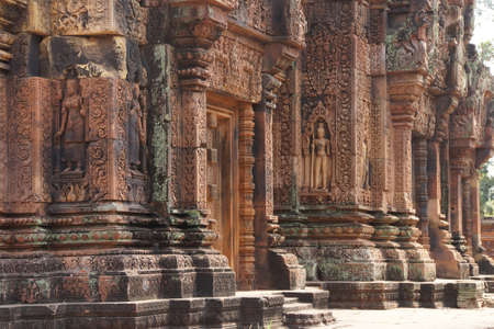 apsara: Apsara dancer on walls of intricate temple at  Banteay Srei, Cambodia