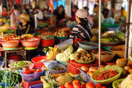hoi an: Colorful vegetables for sale  at the Central Market of  Hoi An, Vietnam Stock Photo