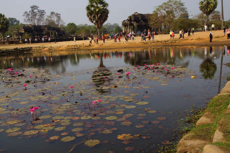 Lotus pond reflects progression of tourists visiting  Angkor Wat,  Cambodia Stock fotó - 38219341
