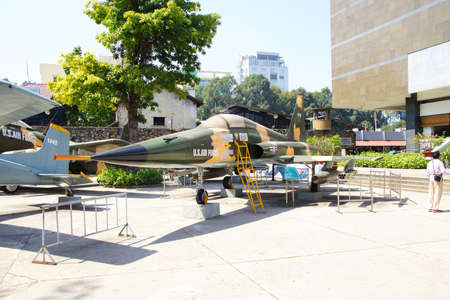 SAIGON - FEB 5, 2015 - American F5A jet fighter from the Vietnamese war era,  War Remnants Museum, Saigon (Ho Chi Minh City),  Vietnam