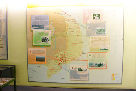 SAIGON - FEB 5, 2015 - Map showing deplyment and engagement battles of United States military during the Vietnamese War,   War Remnants Museum,