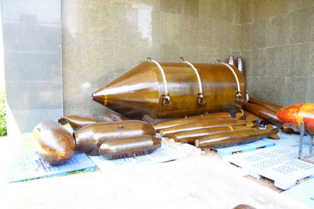 SAIGON - FEB 5, 2015 - American CBU-55 cluster bomb, from the Vietnamese war era,  War Remnants Museum, Saigon (Ho Chi Minh City),  Vietnam