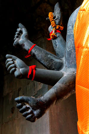 vishnu: Multiple arms of Vishnu in Gateway chamber of  Angkor Wat,  Cambodia Stock Photo