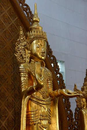 Golden Buddha statue, Shwedagon Pagoda Yangon (Rangoon),  Myanmar (Burma)