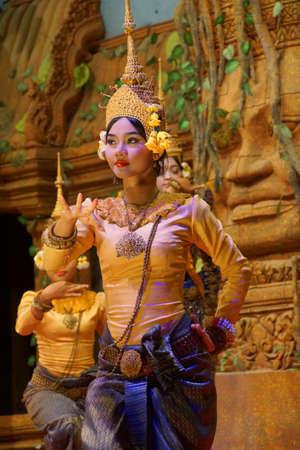 recital: SIEM REAP, CAMBODIA - FEB 14, 2015 - Apsara dancer performs at an evening recital,  Siem Reap,  Cambodia