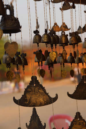 burmese: Burmese temple bells sway gently in the wind, Htilominlo TempleBagan Myanmar (Burma)